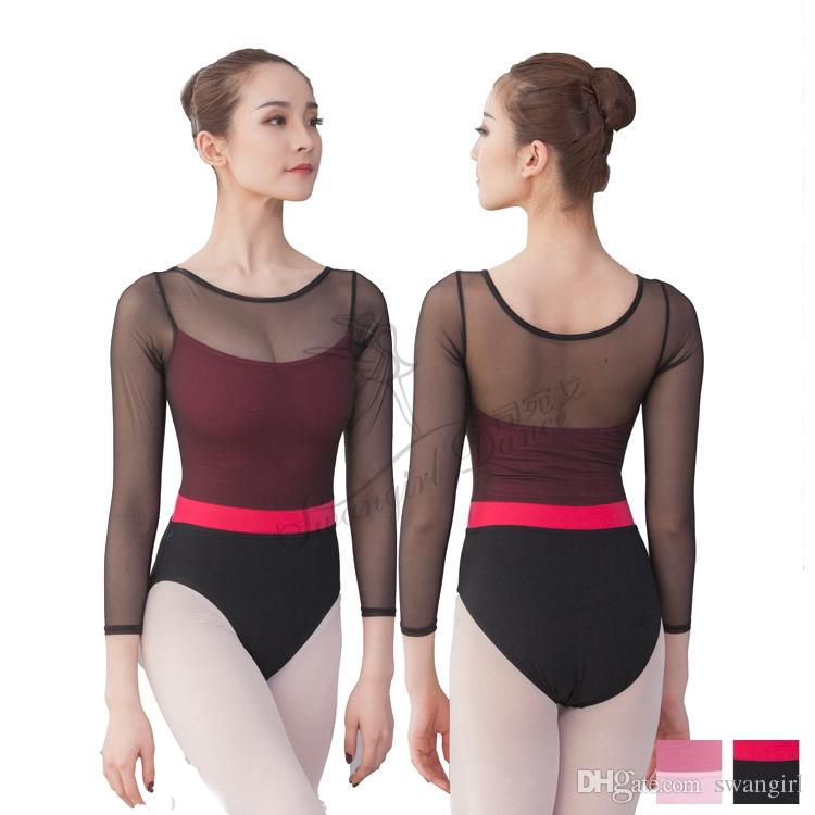 abc1eaee3 2019 Women Long Sleeve Black Leotard Ballet Dancewear Cotton Lycra ...