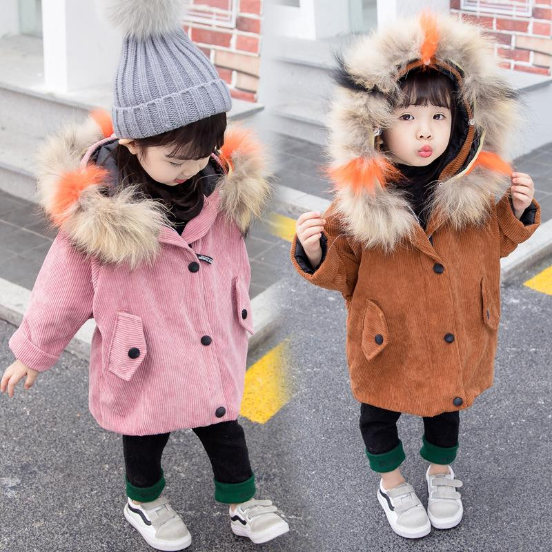 cebdf6bb6 Girls Down   Parka Winter Windproof Clothes Colorful Fur Baby Boys ...