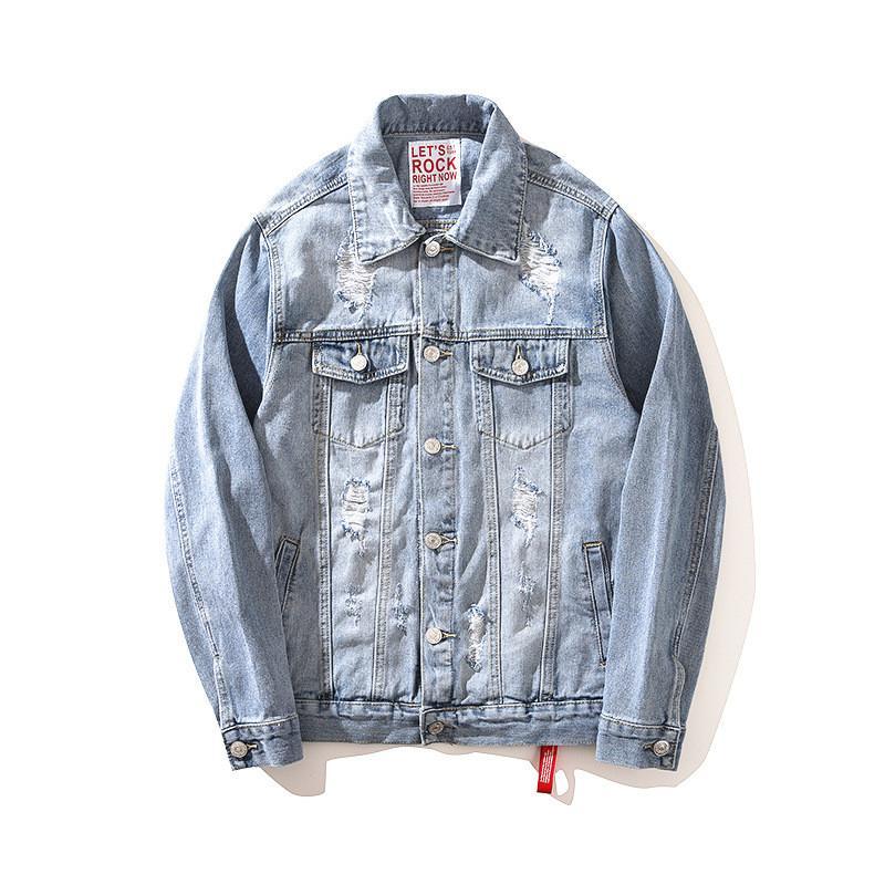 Compre Moruancle Moda Para Hombre Hola Street Ripped Denim Jacket Washed  Oversize Jeans Apenado Chaquetas Prendas De Vestir Exteriores Con Agujeros  Azul ... 06e51cea0f4