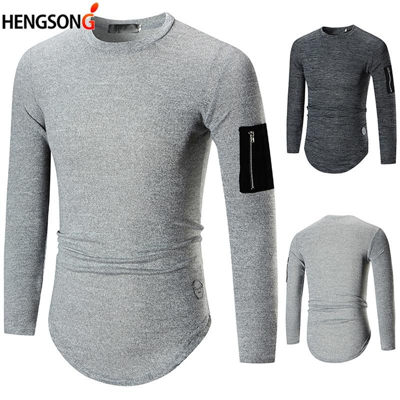 de7f9abee Hengsong 2018 Autumn Winter New European Size Men'S Casual Long Sleeved T  Shirt Fashion Zipper Decorative Bottoming Shirt Thirts Og T Shirt From  Xiatian5, ...