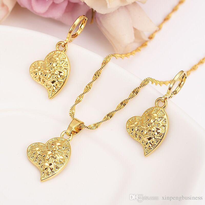 9e9ec4162514b Diagonal five stars Heart Pendant Necklaces Earring Romantic Jewelry 24 k  Fine Solid Gold GF Womens gift Girlfriend Wife Gifts