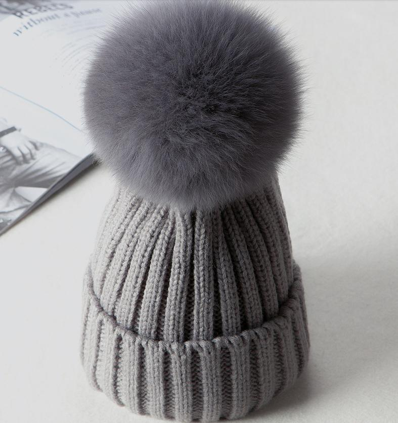 f550144da0e 2019 Faux Fur Kids Winter Caps 2018 Cotton Knitted Baby Boys Girls Pompom  Hats Skullies Beanies Children S Pom Pom Hat Bonnets From Xuelianguo