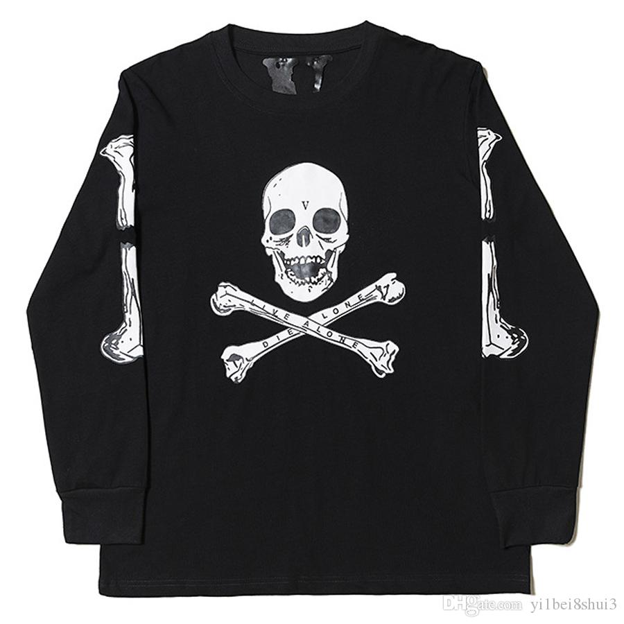 Acquista Vlone Skull Long Sleeve T Shirt Uomo Donna Cotton T Shirt Harajuku Hip  Hop Skateboard Fashion Streetwear Marca Girocollo Stampa Top Tees A  24.08  ... 674919daa0ed