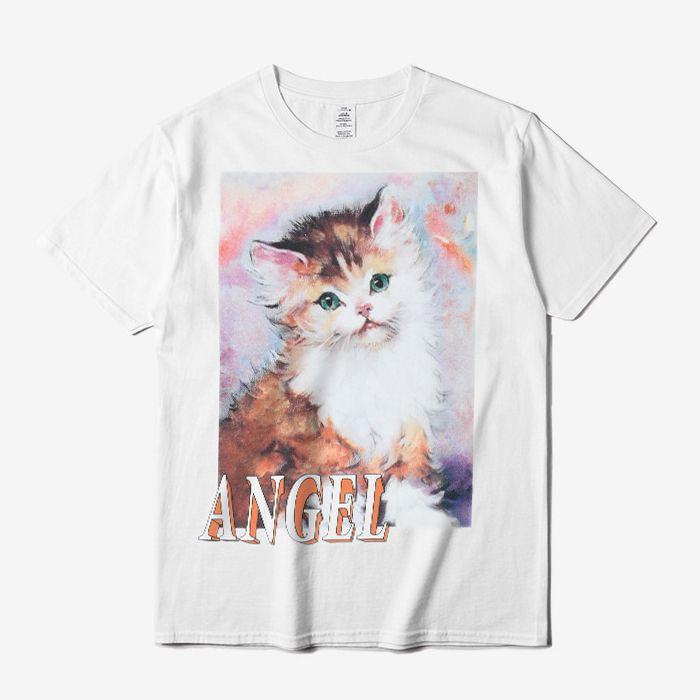 Compre Ss18 Heron Preston Angel T Shirt Cute Cat Impreso Manga Corta Tee  Hombres Mujeres 100% Algodón Casual Camisas Blanco Negro Dfyh0301 A $15.12  Del ...