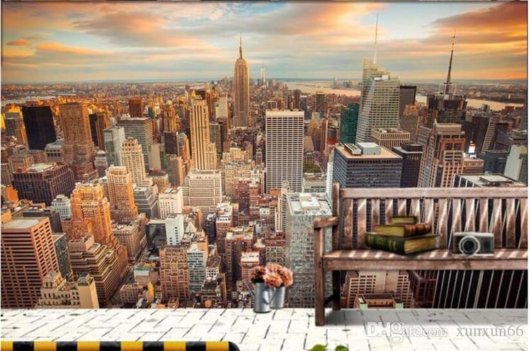 3D 벽 방 벽화 그림 하이 엔드 사용자 정의 벽화 부직포 벽 스티커 3 일 뉴욕 풍경 벽지 3D 방 벽지