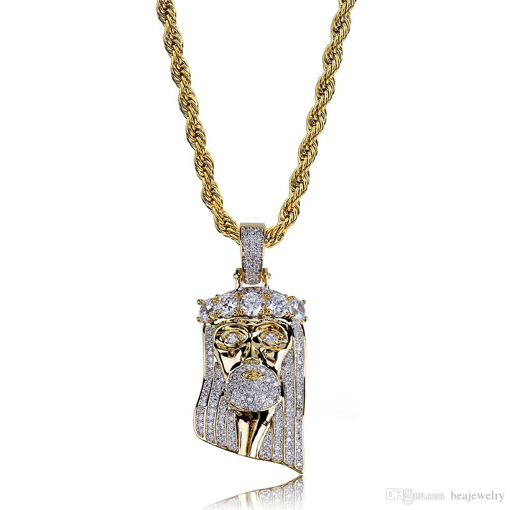 Nuovo rame placcato oro placcato Iced Out Jesus Face ciondolo collana Micro pavimenta CZ Stone Hip Hop Bling Jewelry