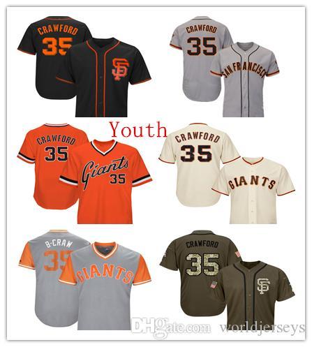 cb351508d 2019 Youth Kids Child Giants 35 Brandon Crawford Baseball Jerseys Gray  Cream Orange White Black Green Salute Players Weekend From Worldjerseys