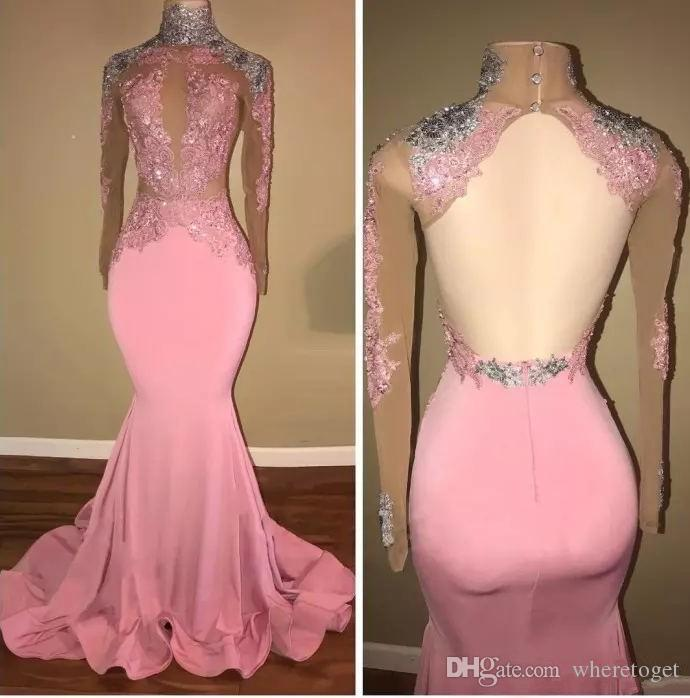 2018 Sexy blush long sleeve evening dresses mermaid keyhole backless illusion lace appliques bling turmpet formal prom party wear for women