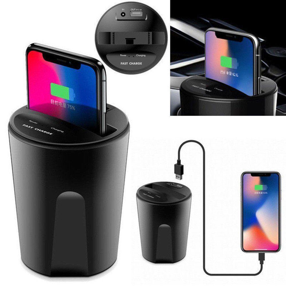 Fast Qi Car Cup Wireless Charger Charging Holder For iPhone X 8 Samsung S8 S7 S6 BBA246