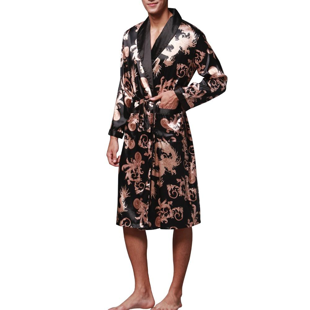 973f53950f 2019 Sidiou Group Night Robe Men Kimono Bathrobe Satin Robe Long Sleeve  Nightgown Dressing Gown Nightwear Sleepwear From Blueberry07
