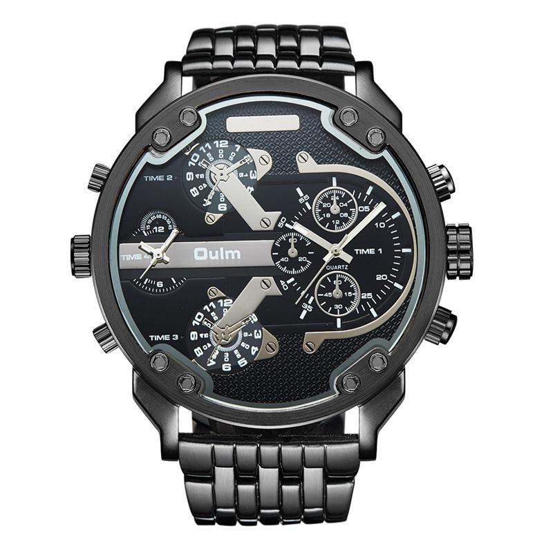 630691c09a7 Compre Oulm Exagerado Grandes Grandes Relógios Homens De Luxo Da Marca  Único Designer De Quartzo Relógio Masculino Relógio De Pulso De Couro De Aço  Completa ...
