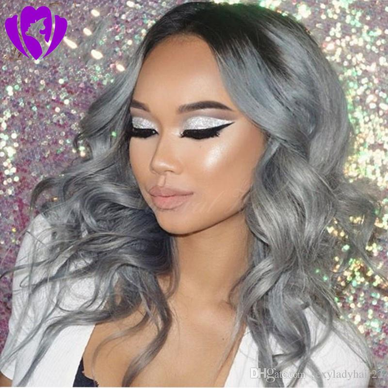 Stock short bob wig grey color Synthetic Front Lace Wig body Wave ombre lace wig Free Parting Glueless Fiber Hair