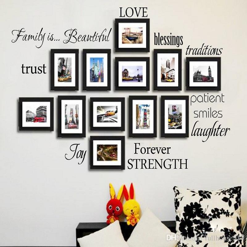 Black Set Of 12 Family Words Wall Decor Vinyl Wall Stickers Picture Frame  Family Wall Decals Room Art Decoration Home Decor Wall Art Stickers Home  Decor ... 81f3ef0896d4