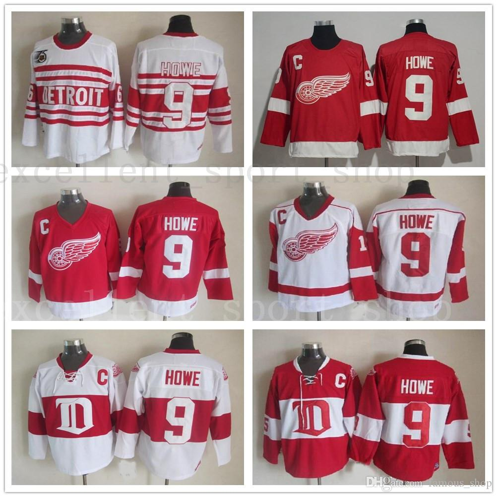 53b6dd457 ...  9 Gordie Howe Hockey Jerseys Home Red Vintage Winter Classic Red White  Gordie Howe Cheap Stitched C Patch From New jersey store
