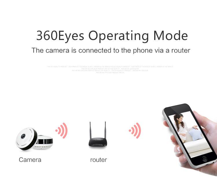واي فاي كاميرا مصغرة 360 درجة أمن الوطن لاسلكي بانورامي واي فاي كاميرا CCTV 1.3MP / 2MP / 4MP 960P / 1080P كاميرا فيديو الأمن