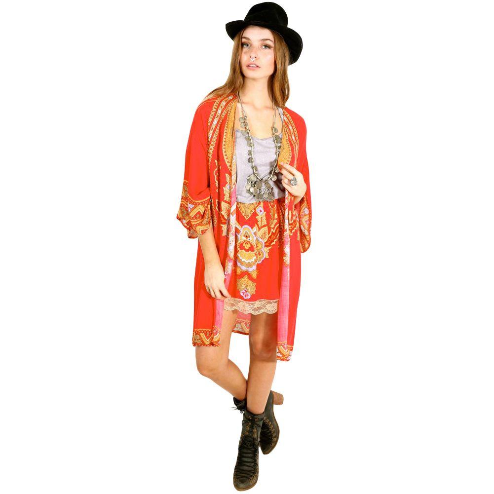 43fd4047bf 2019 Women Chiffon Kimono Cardigan Bikini Cover Up Printed Boho Beach Cover  Up Long Loose Casual Beach Robe Plage Pareo Red From Lixlon07, $28.23 |  DHgate.