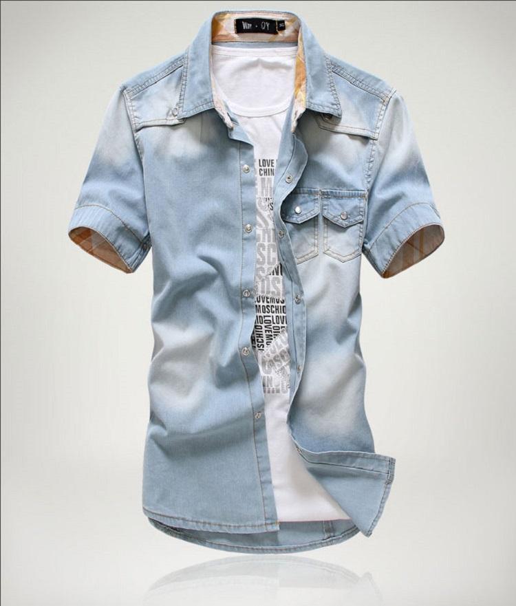 new style f77fc daa34 Camicia di jeans a maniche corte in cotone da uomo marca estiva 2018  Camicia in denim da uomo chemise homme in camiceria da cowboy di camiceria  da ...