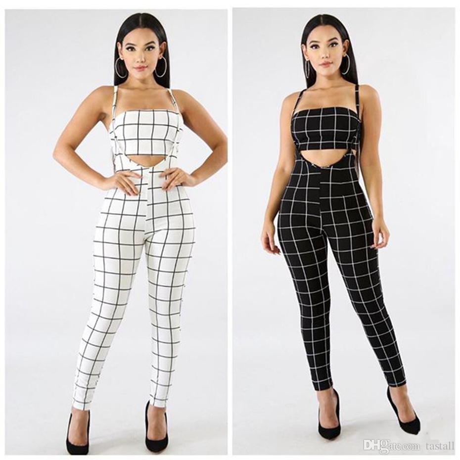 58c915330a5 2019 Plaid Sexy Jumpsuit Black White Summer Overalls Two Piece Set Crop Top  Spaghetti Strap Rompers Womens Jumpsuit S 2XL From Tastall