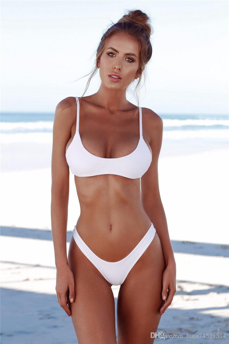 c594d0dbbd7f5 2019 2018 Sexy Micro Bikini Plus Size Swimwear Women Swimsuit Female Beach  Wear Push Up Thong Brazilian Bikini Set White Bathing Suit From  Hutu74521514