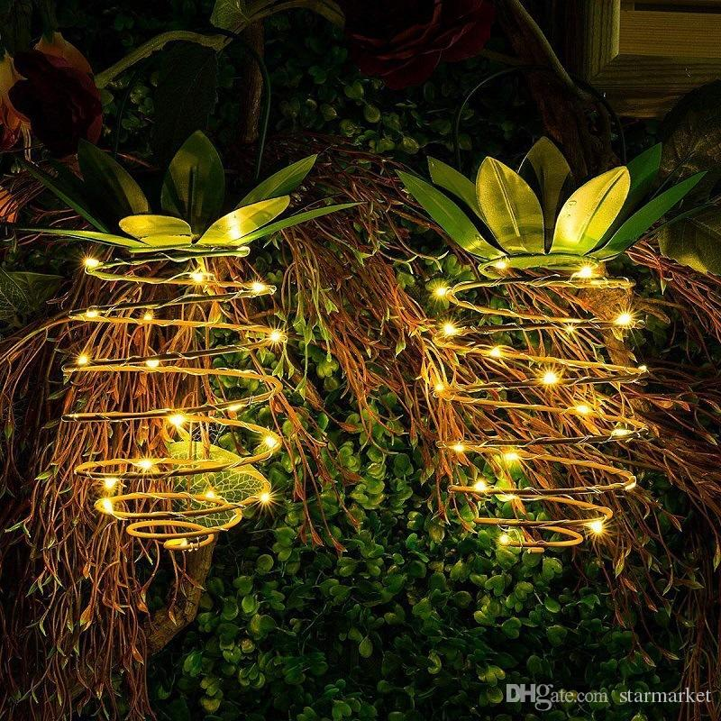 Großhandel 2 Stücke Garten Solar Licht Outdoor Decor Ananas Solar