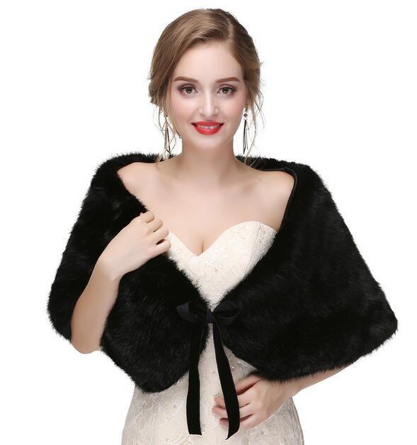 283c7509a6c Faux Fur Shawl Wrap Stole Shrug Winter Bridal Wedding Cover Up Solid color  new temperament shawl