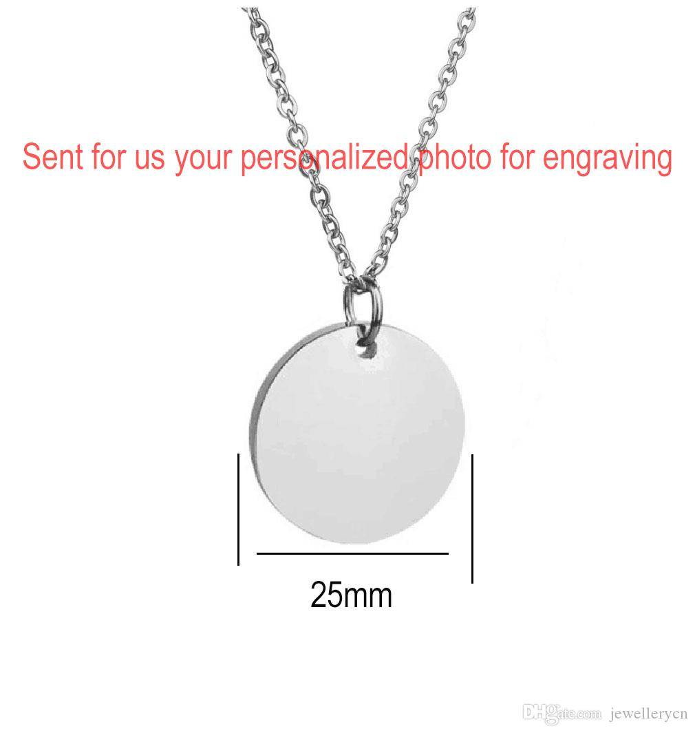 Custom Image Engraved Necklace Stainless Steel Disc Engraving Blank Necklace Personalized Name Photo Jewelry Dropshipping wholesale