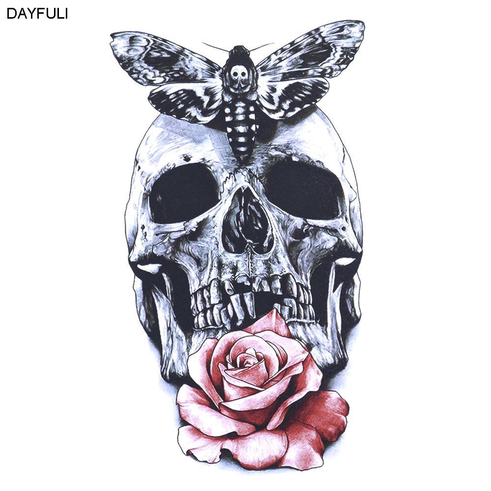 3D Temporary Tattoos Red Rose Skull Body Art Tattoo Sticker Fake ...