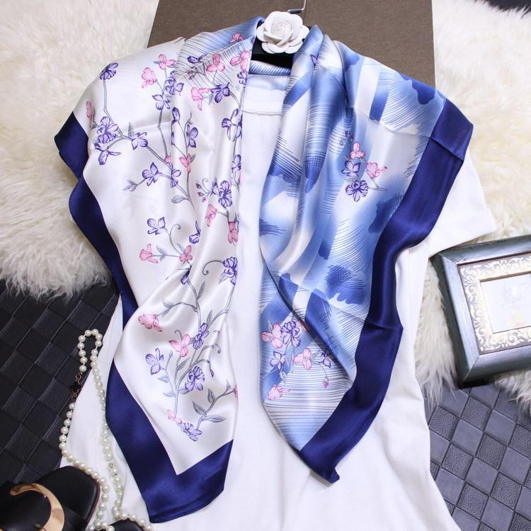 Acheter Nouvelle Fleur De Luxe Pleine De Branches, Art, Soie Fraîche, Satin,  Écharpe Carrée De 90 Cm, Peinture Pour Femme Sauvage 100% Vraie Écharpe En  Soie ... 750da295108