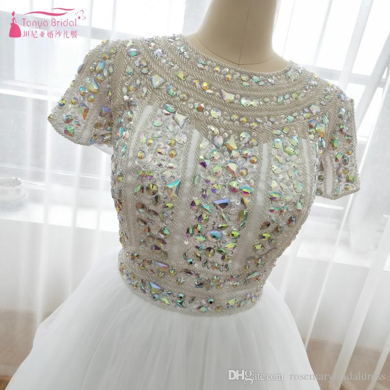 Amazing Shiny Bling Bling Homecoming Dresses Crystal Sequined Sequined Prom Party Dresses Organza TuTu Skirts Mini Gowns Z0984
