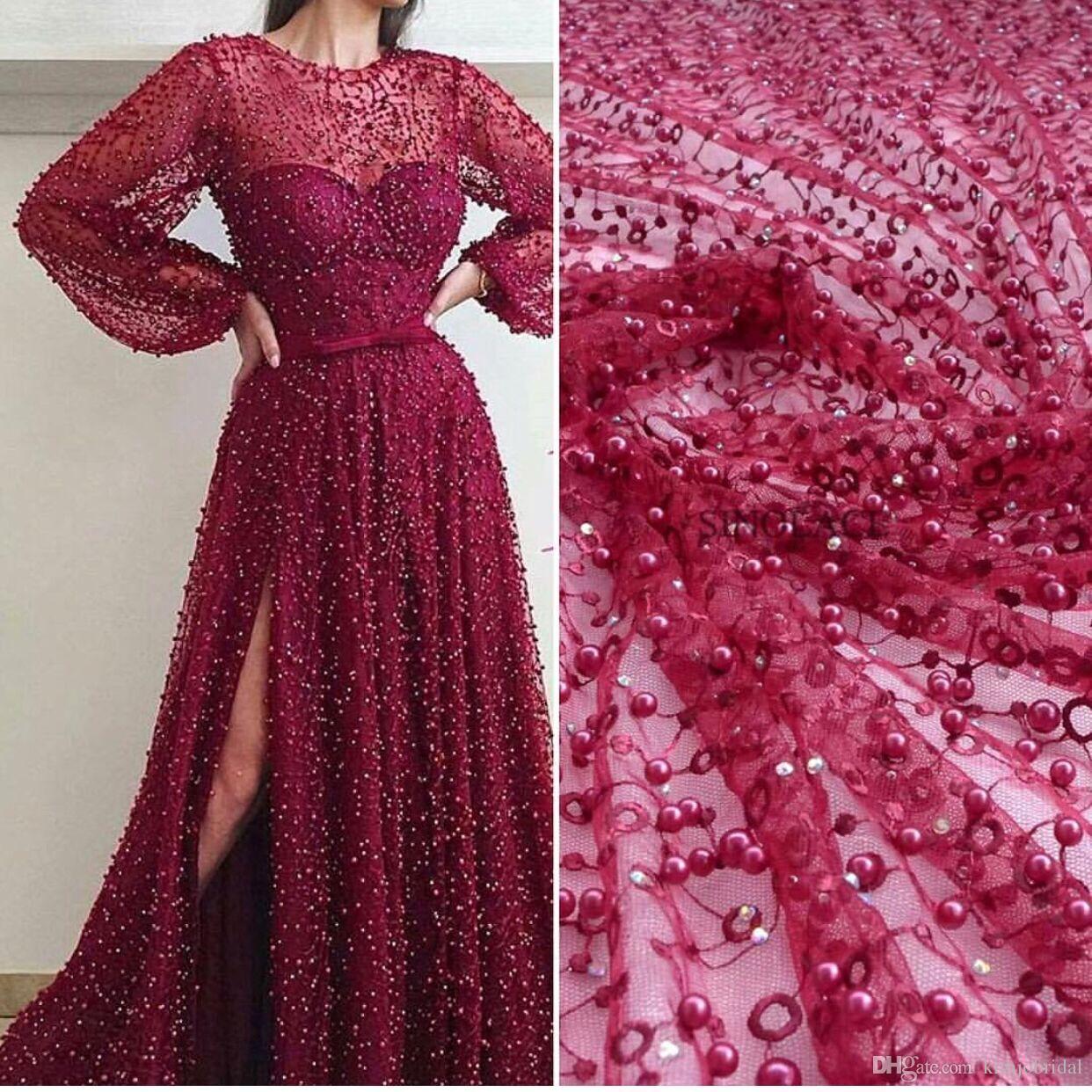 2018 Burgundy Beaded Prom Dresses with Slit Long Sleeve Luxury Elegant Sexy Prom Gown Arabic Vestido De Festa De Longo