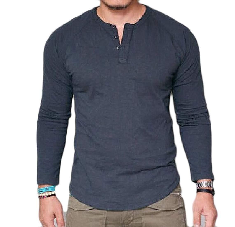 677870dfc1 Mens Henley T-Shirt Long Sleeve Crew Neck with Button Slim Fit Plain Top