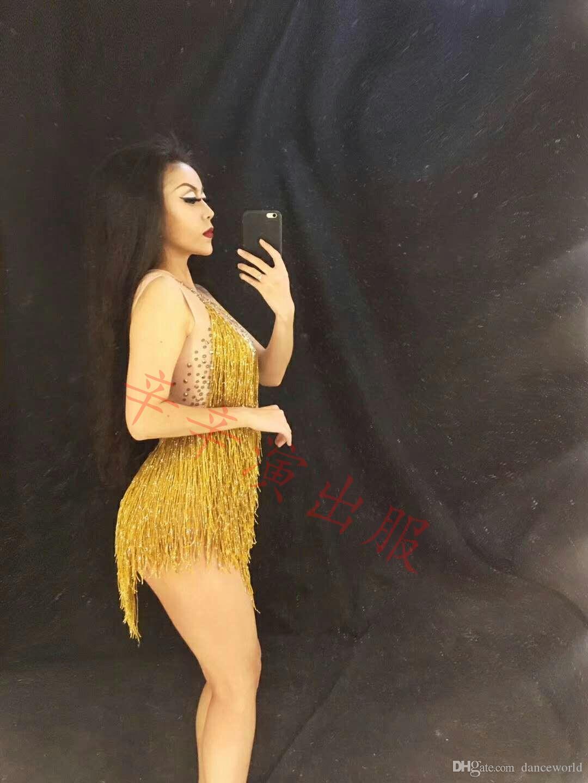 Sparkly Altın Püskül Bodysuit Rhinestones Kıyafet Glisten Boncuk Kostüm Tek parça Dans Giyim Şarkıcı Sahne Leotard Headdress