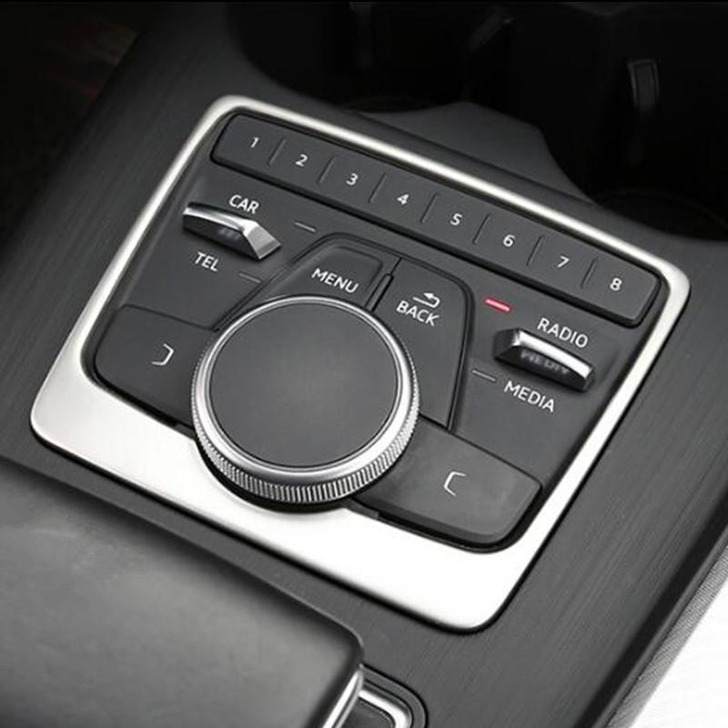 Car Center Console Multimedia Panel Decorative Cover Trim Stainless