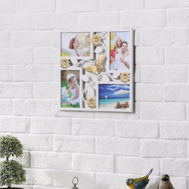 2018 4x6 White 4 Openings Wall Collage Picture Frame White Pvc