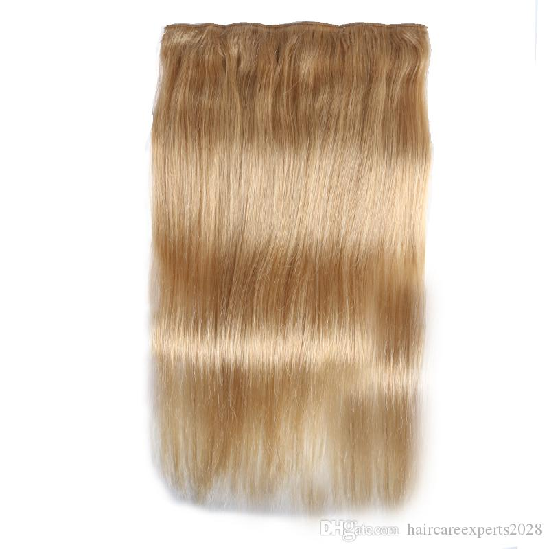ELIBESS HAIR -Straight Full Head Clip in Machine Made Remy Hair Extensions 100g/pc #27#613#1B#4 Brown Color 5 Clips in Human Hair