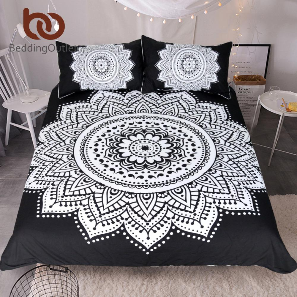 Beddingoutlet Mandala Print Bedding Set Queen Size Floral Pattern Duvet  Cover Black And White Bohemian Bedclothes Lotus Bed Set 100 Cotton  Comforter Sets ...