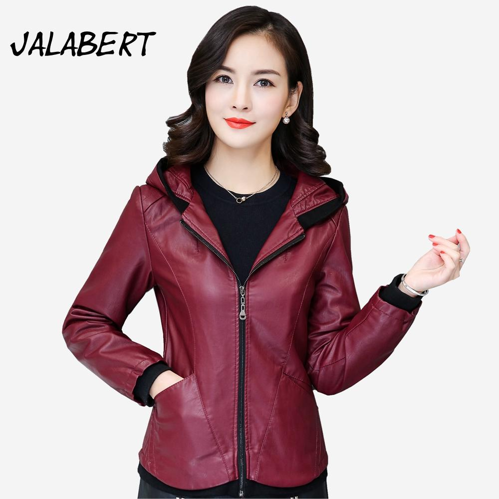 fc7b8776577 Chaquetas De Cuero Mujer Rushed Real 2017 Autumn Winter Leather ...