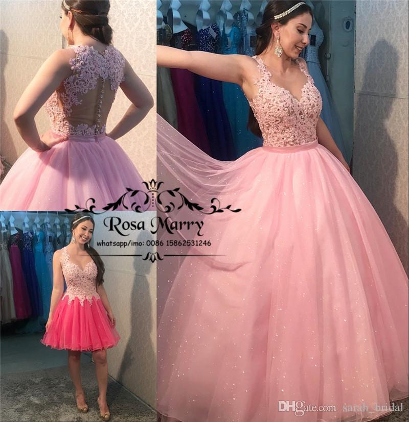 ef752ac81 Compre Sparkly Pink Sweet 16 Vestidos De Quinceañera 2019 Vestido De Bola De  Encaje Falda Desmontable Debutante Masquerade Vestidos De 15 Años De Baile  De ...