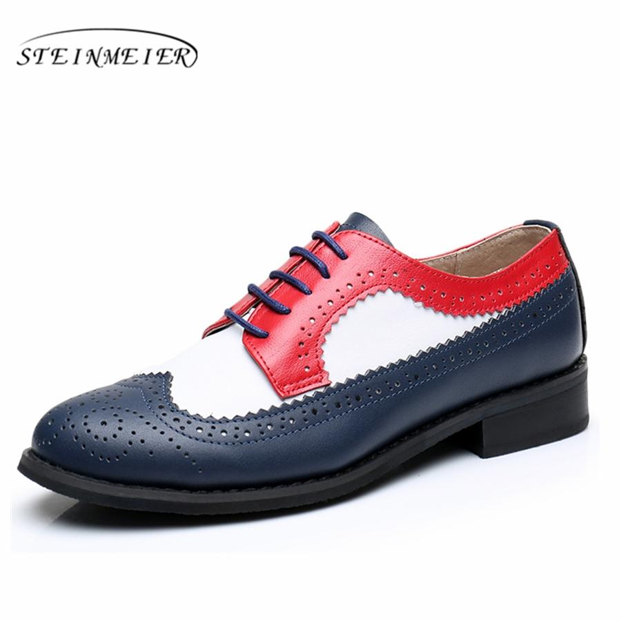 7a797c624d156 Women Flat Leather Oxford Shoes Woman Handmade Flat Red White Blue 2017  Sping Vintage British Style Oxfords Shoes For Women Fur Loafers Mens Boots  From Goin ...