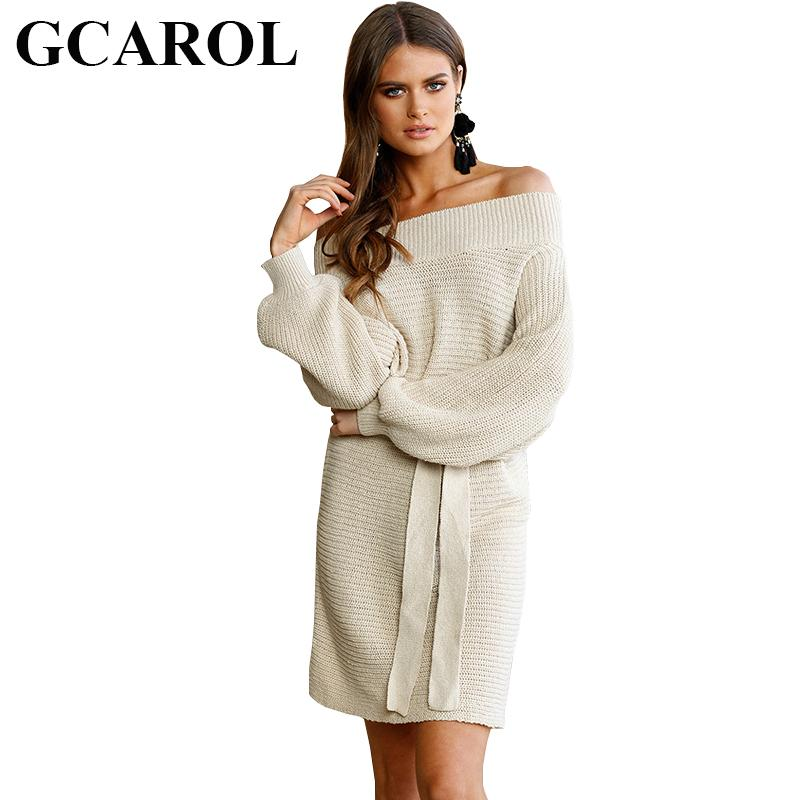 57f4a4c1c1 GCAROL New Autumn Winter Sexy Off Shoulder Women Long Sweater Dress With  Sashes Knitted Pullover Tops Fashion Basic Knitwear Long Sundresses On Sale  Women ...