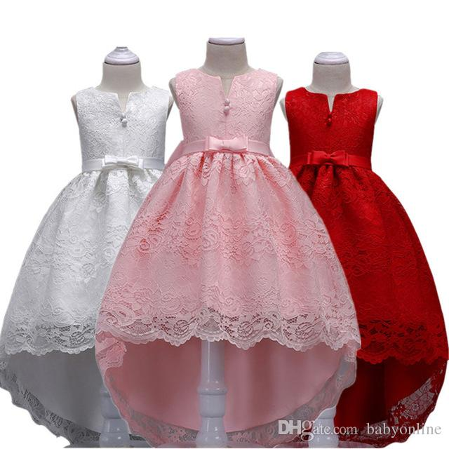 1c70909e1a17f 2018 Lace High Low Flower Girls Dresses Princess A Line Knee Length Kids  Birthday Party Gown Communion Dresses With Big Bow Sash MC1499 Girls Dresses  Size 7 ...