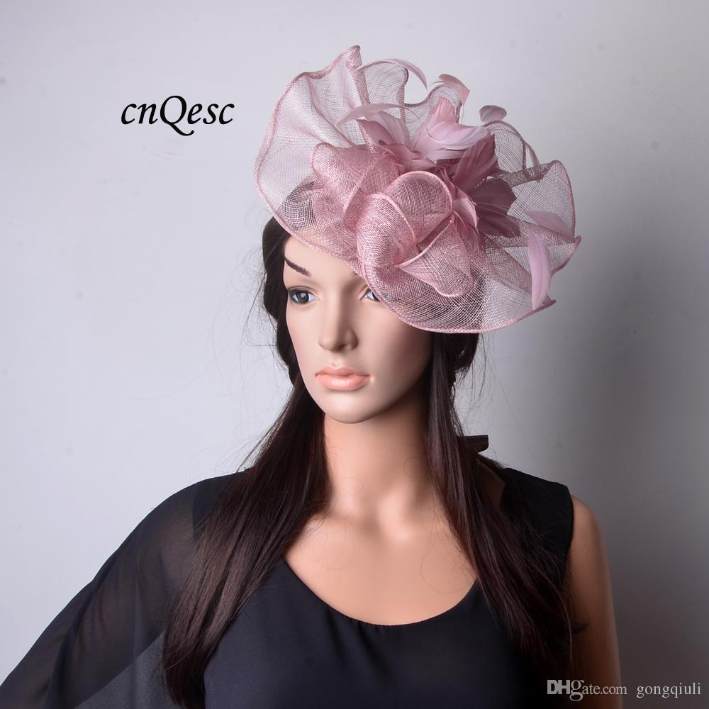 73b752ec5d576 Heather Pink Big Feather Flowers Sinamay Fascinator Hat for Races ...