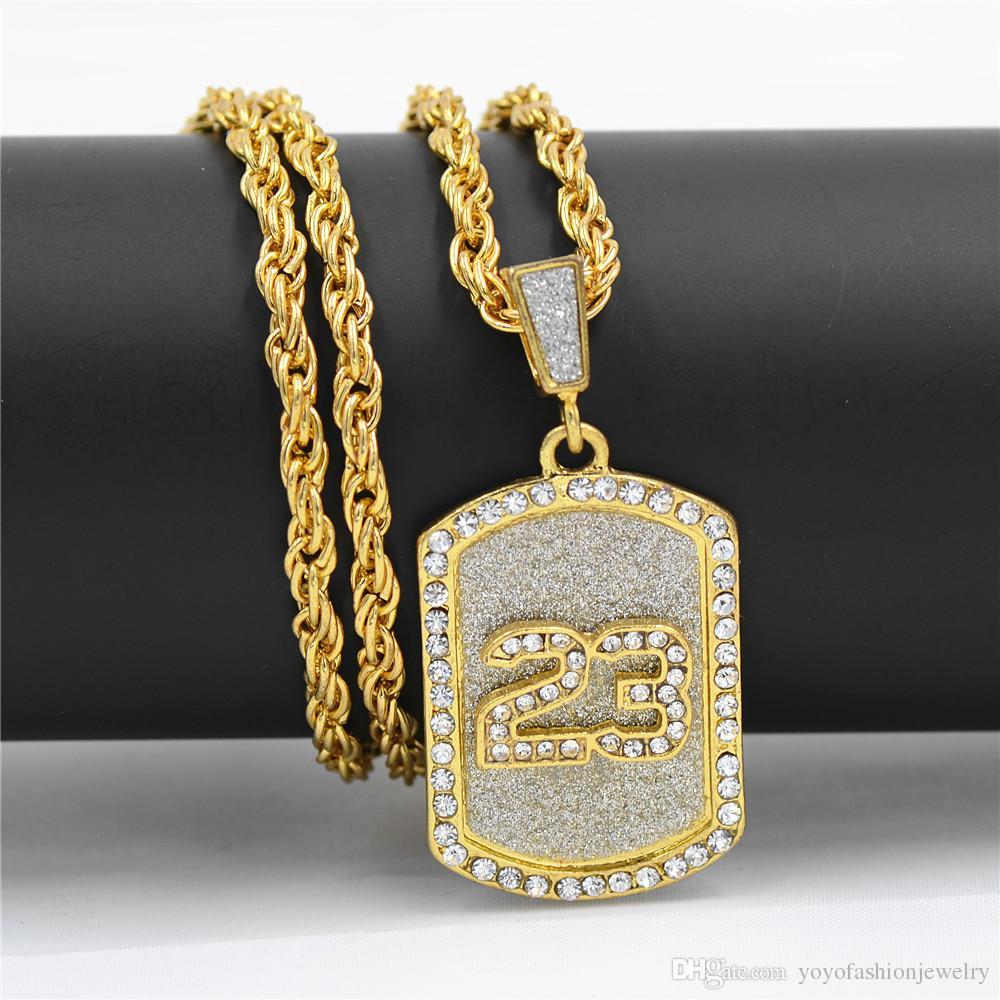 Hip hop uzun kolye Kaplama Tabanca Uzi Gun 70 cm Zincir numarası 23 Kolye Kolye Erkekler / Kadınlar HipHop Maxi Kolye Erkekler Takı