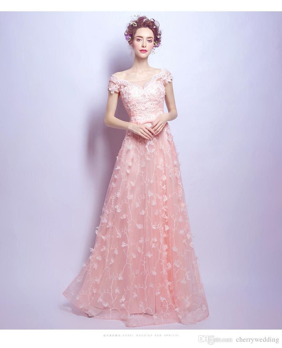 newest collection d3976 f482c Abiti lunghi da ballo Abiti rosa da cerimonia Abiti da cerimonia Abiti da  festa di fiori 3D Abiti da damigella d onore Vestido De Festa 2561