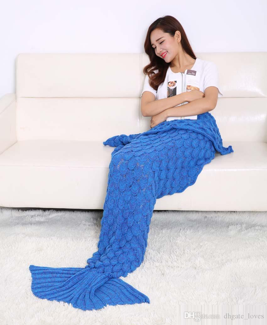 Hot Crochet Mermaid Tail Blanket with scale 7 colors Blanket Bed Sleeping Costume Mermaid Air-condition Knit Blanket Wholesale