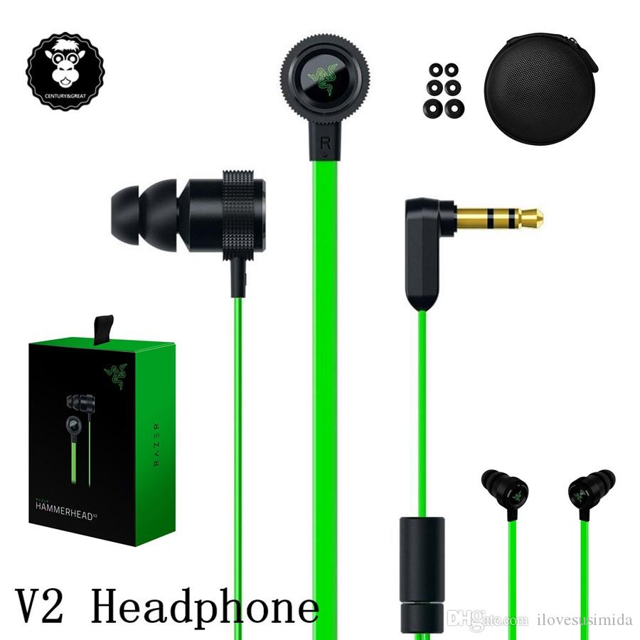 5cb9cf86963 Razer Hammerhead Pro V2 Headphone In Ear Earphone With Microphone With  Retail Box In Ear Gaming Headsets Noise Isolation Stereo Bass 3.5mm Phone  Earphones ...