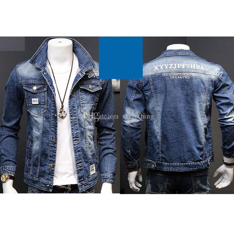 Wholesale Blue Retro Elastic Embroidery Letter Mens Denim Jacket Distressed