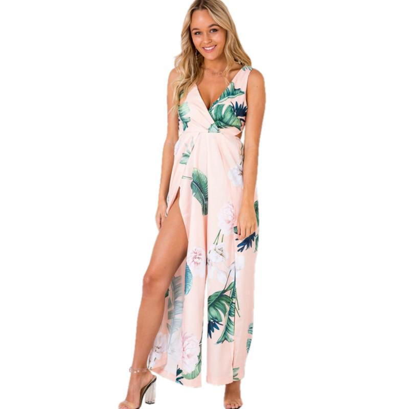 71c46e3926a 2019 PEONFLY Floral Print Bohemian Beach Rompers Womens Jumpsuit Sexy V  Neck Split Backless Overalls For Women Pink White Symmer From Worsted