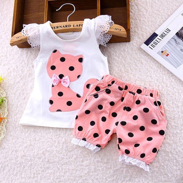 Summer baby girls clothing set children bow cat shirt+shorts kids polka dot clothes set suit