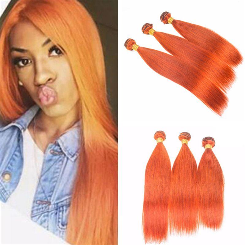 Orange Color Hair Bundles Silky Straight Burnt Orange Virgin